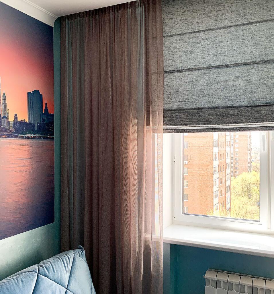 Комбинированные шторы на окно